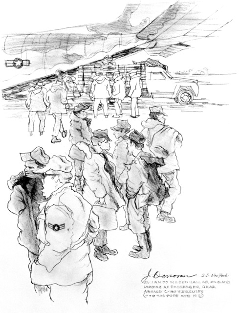 "Artwork: ""Loading a C-130 - Mildenhall, England"" Artist: Jeremiah Donovan"