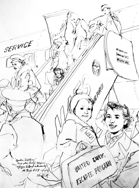 "Artwork: ""McGuire Air Force Base - Refugees De-planing"" Artist: Thornton Utz"