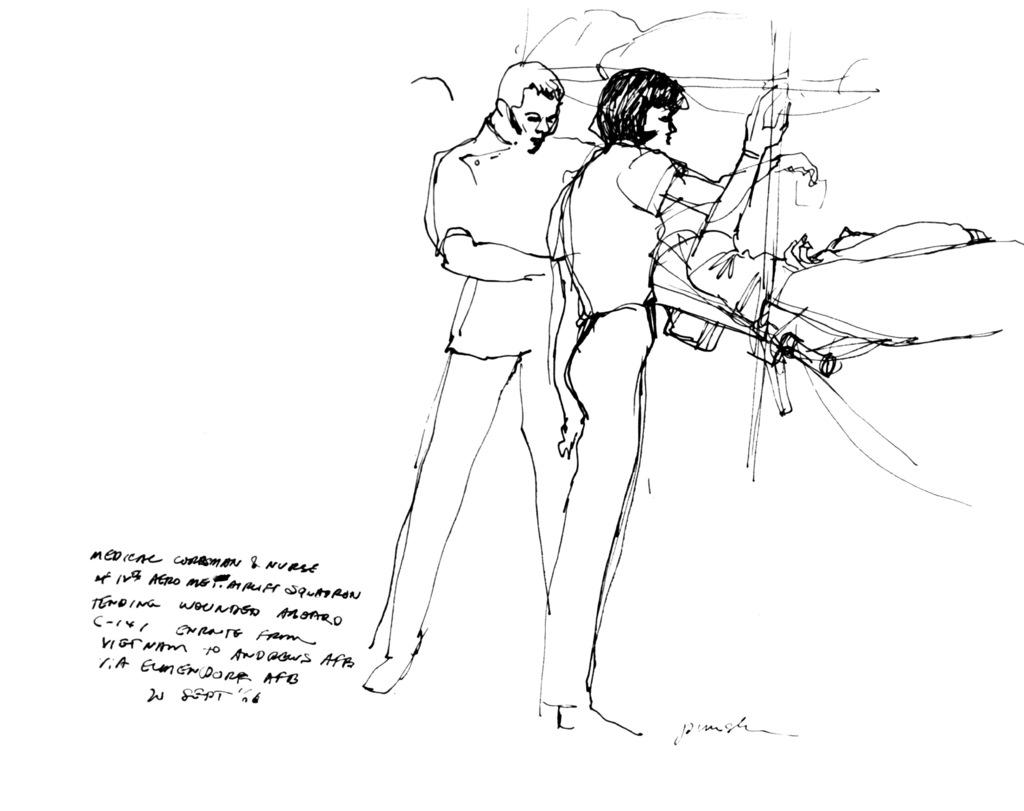 "Artwork: ""Med Corpsman and Nurse"" Artist: Alvin Pimsler"