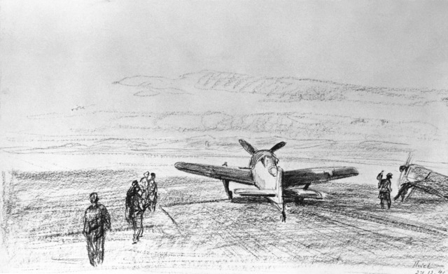 "Artwork: ""Planes on the Runway of a French Airfield"" Artist: J. Thiel"