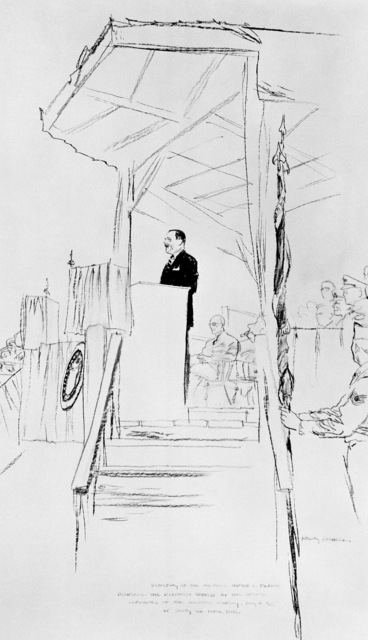 "Artwork: ""Secretary of the Air Force at the Dedication of the Air Academy"" Artist: Henry Koehler"