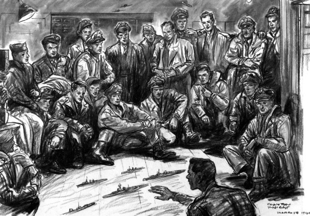"Artwork: ""Shemya March 14, 1945"" Artist: Clayton Knight"