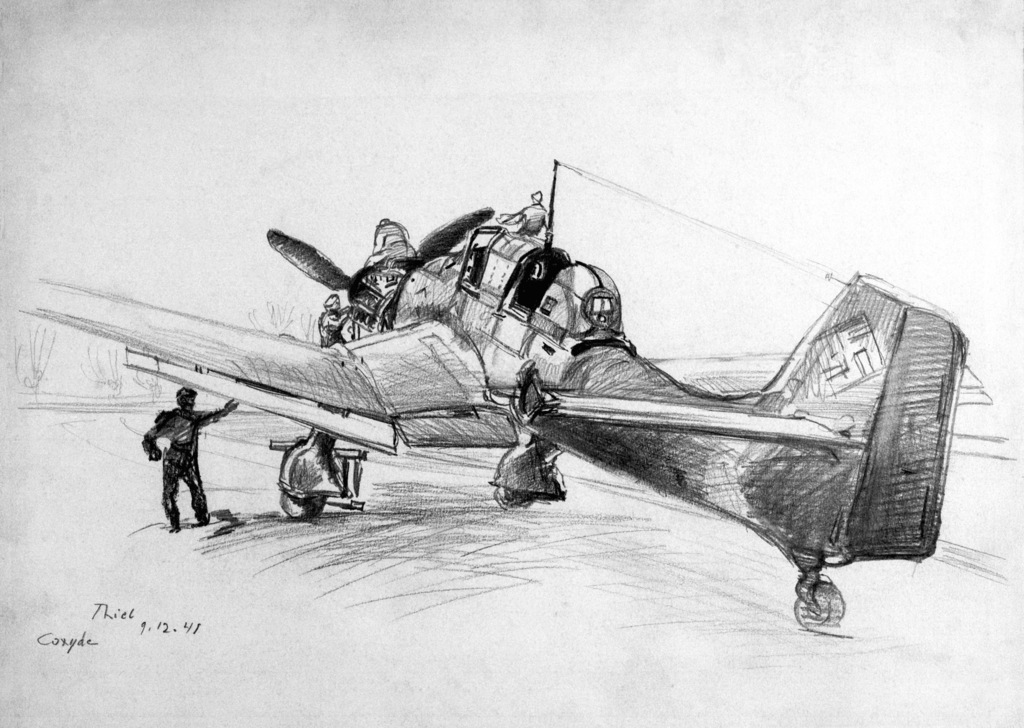 "Artwork: ""Stuka Mechanics at Work - Northern France"" Artist: J. Thiel"