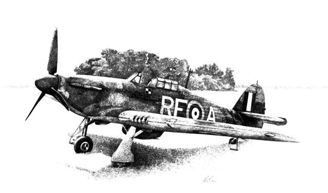 "Artwork: ""Witold Urbanowicz's Hurricane, Sept. 1940"" Artist: Max Crace"