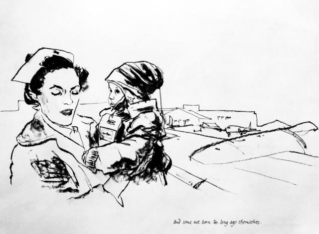 """Artwork: """"Young Passenger Boarding Plane"""" Artist: Henry Koehler"""