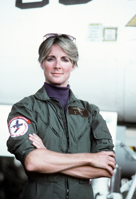 LT. Patricia A. Denkler poses for a picture. Denkler became the first Navy woman to be carrier qualified in a jet aircraft when she landed aboard the aircraft carrier USS LEXINGTON (AVT-16) in September