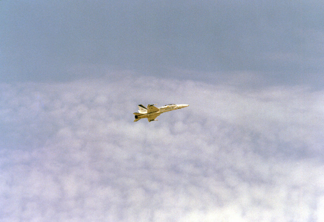 Right side view of an F-18 Hornet aircraft during flight demonstrations at the air show