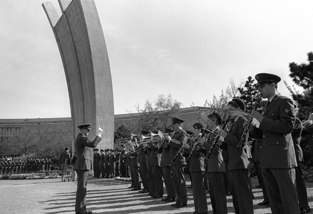 The U.S. Air Force in Europe (USAFE) Band plays at a ceremony in Luftbrucke