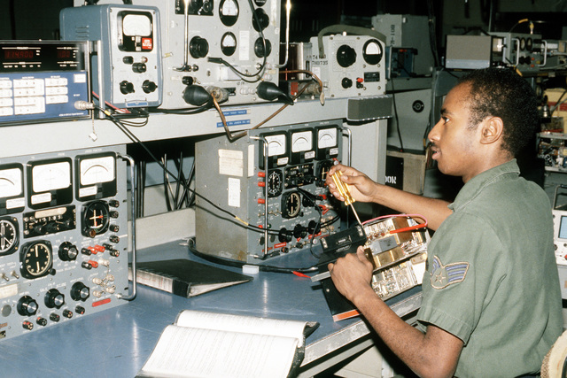 SRA Tony D. Abell, radar and navigational section, 316th Field Maintenance Squadron, calibrates a piece of navigational equipment