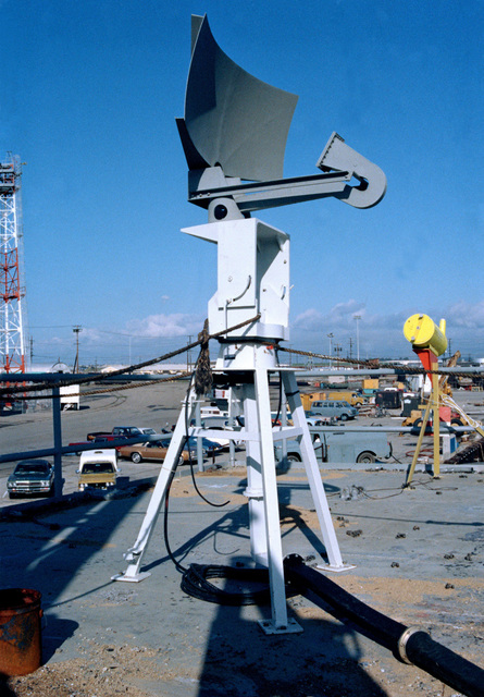 A view of a radar configuration aboard the ex-USS SAVAGE, used for the High Altitude Anti-Radiation Missile (HARM) Project at the Pacific Missile Test Center (PMTC) range