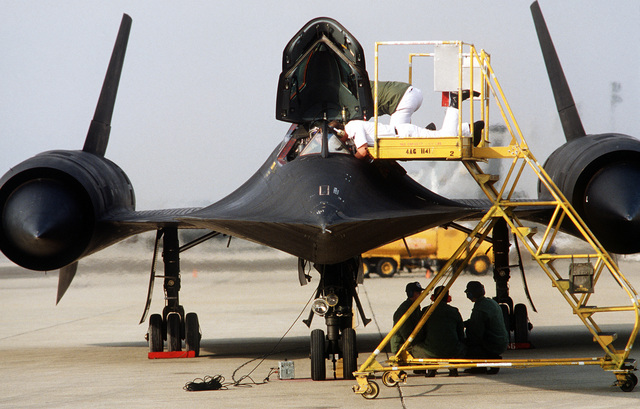 A direct front view of an SR-71 Blackbird aircraft after landing from its 1,000th sortie