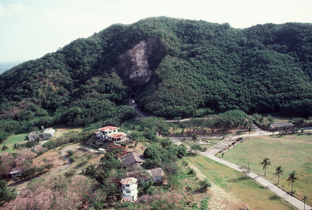Aerial view of the tunnel used as a bomb shelter by the American defenders of the island during World War II
