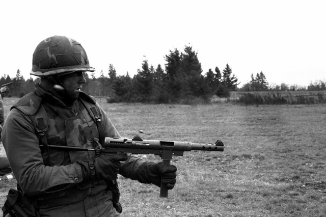 PFC. Dean Richardson, a candidate in the Ranger Indoctrination Program (RIP), 2nd Battalion, 75th Infantry (Ranger), fires the Swedish-K 9mm submachine gun during special weapons training at Range 31