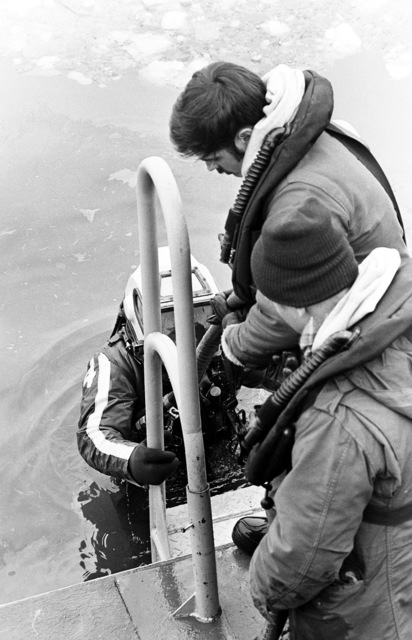 Two Navy divers assist another out of the water at the completion of his dive to recover victims and wreckage from Flight 90, the Air Florida Boeing (14th Street). The divers are from the Explosive Ordnance Disposal School at Indian Head, Maryland and Harbor Clearance Unit Two, from Little Creek, Virginia