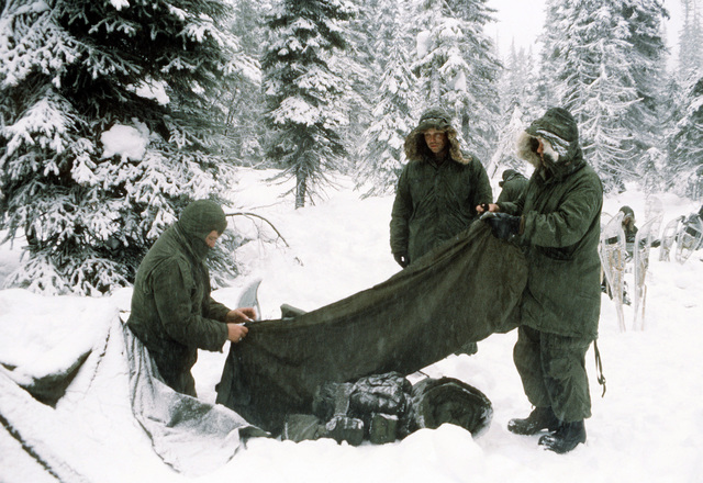 Marines from Company B, 1ST Tank Battalion, prepare their individual equipment so they can start their cold weather training
