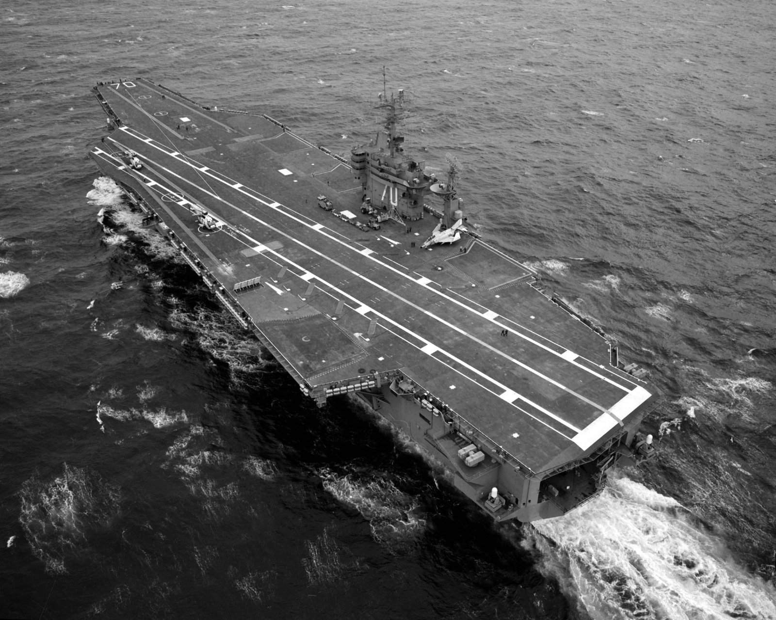 A port quarter view of the nuclear-powered aircraft carrier USS CARL VINSON (CVN-70) underway