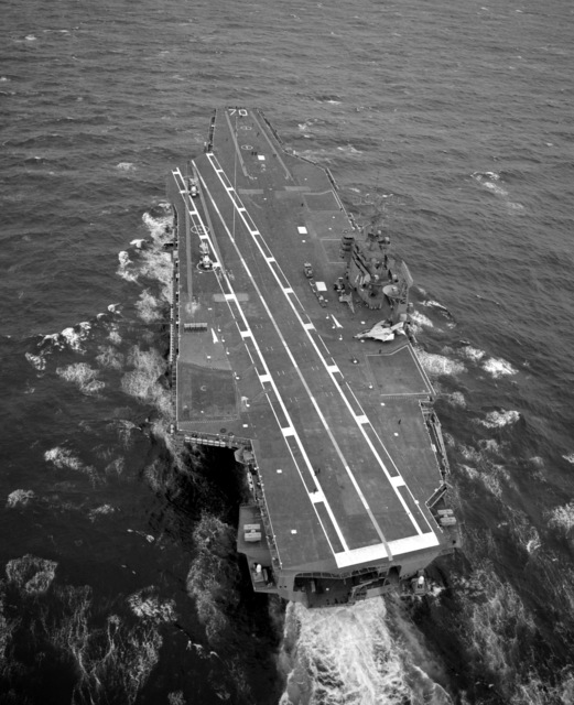 A stern view of the nuclear-powered aircraft carrier USS CARL VINSON (CVN-70) underway
