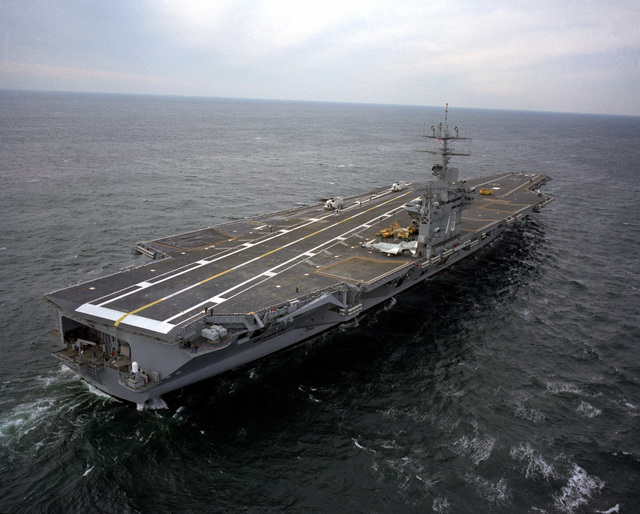 Aerial starboard quarter view of the nuclear-powered aircraft carrier USS CARL VINSON (CVN-70) underway