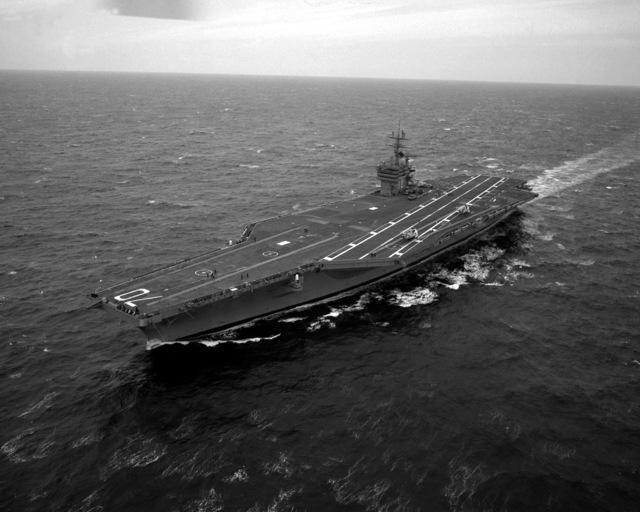 An aerial port bow view of the nuclear-powered aircraft carrier USS CARL VINSON (CVN-70) underway