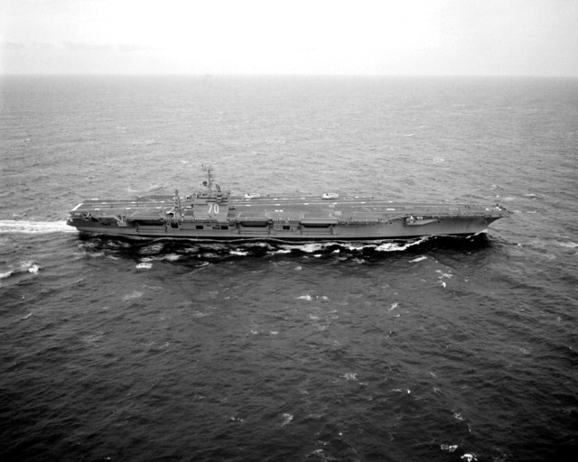 An aerial starboard beam view of the nuclear-powered aircraft carrier USS CARL VINSON (CVN-70) underway