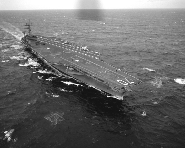 An aerial starboard bow view of the nuclear-powered aircraft carrier USS CARL VINSON (CVN-70) underway