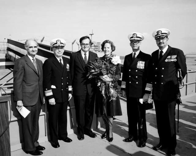 Guests of honor at the launching ceremony for the fleet oiler PLATTE (AO-186) stand for a group picture. They are, from left to right: M. Lee Rice, president Ogden Transportation Corporation, VADM Earl B. Fowler, commander Naval Sea Systems Command, Al Bossier, president, Avondale Shipyard, Inc., Mrs. Bobby Inman, sponsor, ADM Bobby Inman, deputy director of the Central Intelligence Agency and CDR M. G. Simpson, supervisor of Shipbuilding Conversion and Repair, New Orleans