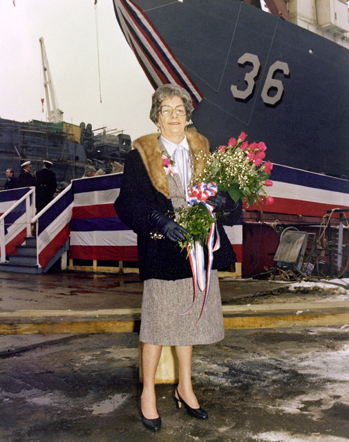 Sponsor Elizabeth T. Underwood poses for a photo during the launching of the guided missile frigate UNDERWOOD (FFG-36)