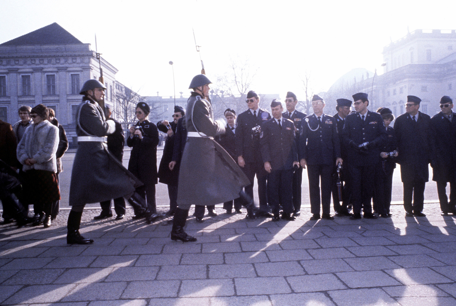 Airmen, from United States Air Force in Europe command, watch the changing of the guard at the tomb of the Unknown Russian Soldier