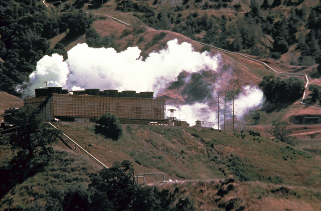 An aerial view of a geothermal power plant. The plant taps the geothermal resources of the area and provides steam of thermal energy that can be used to produce electricity similar to conventional oil of steam-electric plants