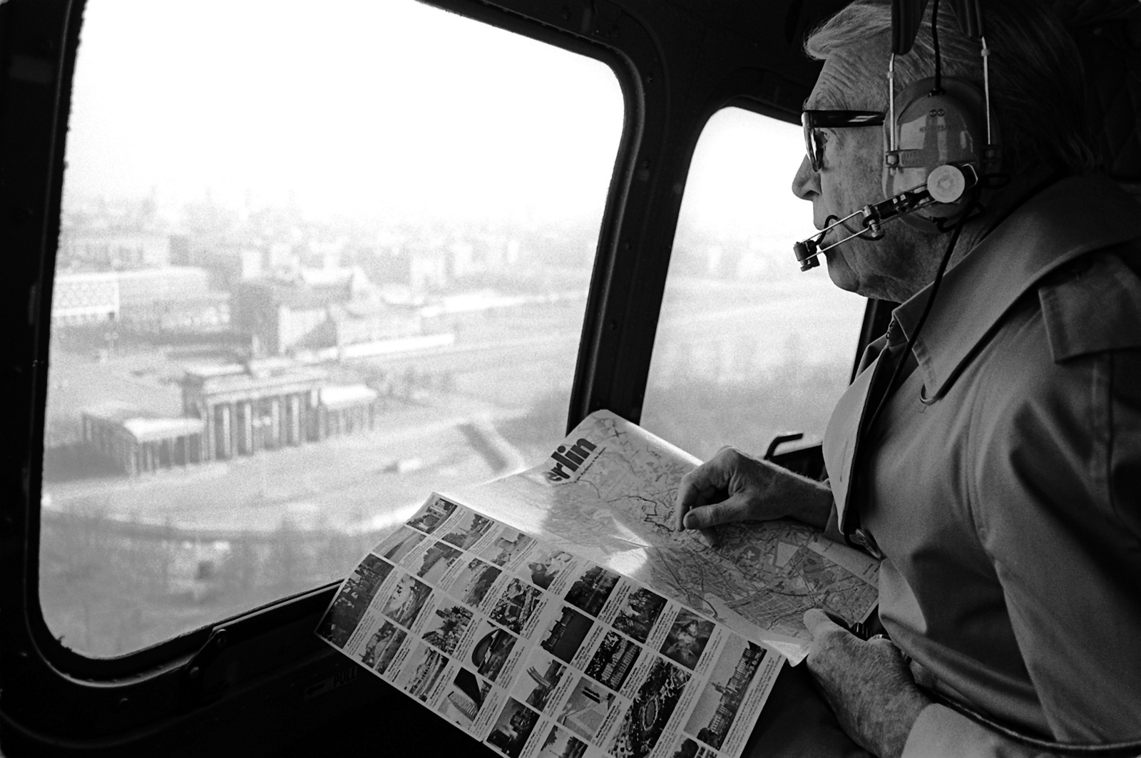 BGEN James Stewart, U.S. Air Force Reserve, views the Brandenburg Gate from a helicopter during his visit to the Tempelhof Central Airport