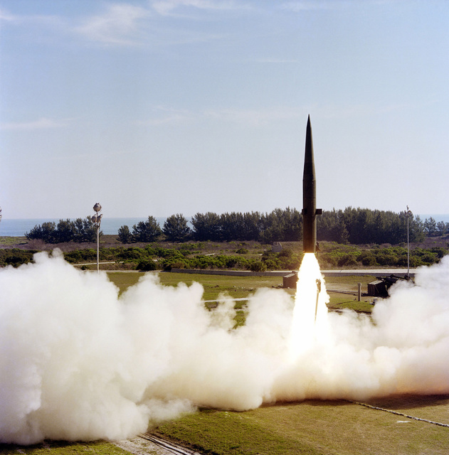 A Pershing (MGM-31A) battlefield support missile lifts off from Complex 16 during a test launch in rapid sequence at (9:04 a.m., 9:55 a.m., and 10:14 a.m. EST