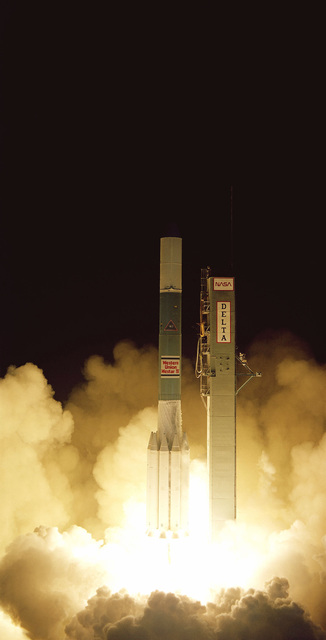 The Delta 160 launch vehicle, carrying Westar IV, the fourth in a series of Western Union communications satellites, lifts off from Complex 17 at 7:04 p.m