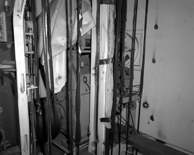 A view of the aft strikedown elevator aboard the destroyer HAYLER (DD-997) at 60 percent completion