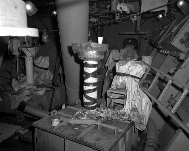 A view of the anchor windlass room aboard the destroyer HAYLER (DD-997) at 60 percent completion