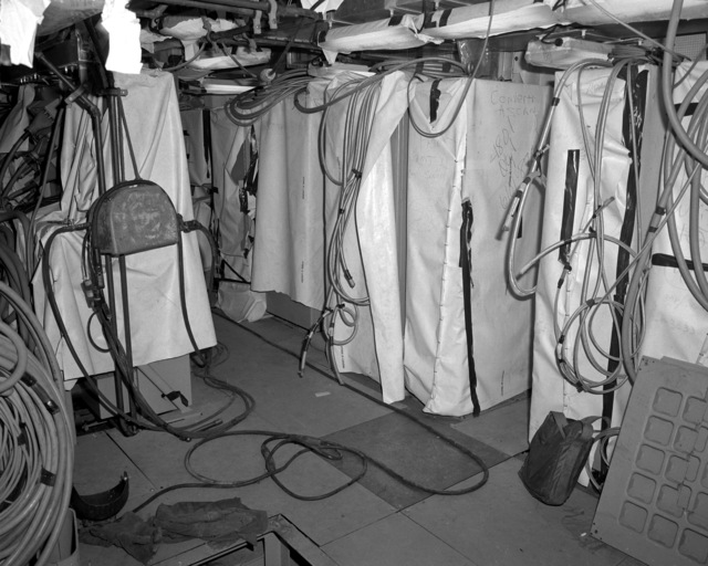 A view of the data processing center aboard the destroyer HAYLER (DD-997) at 60 percent completion