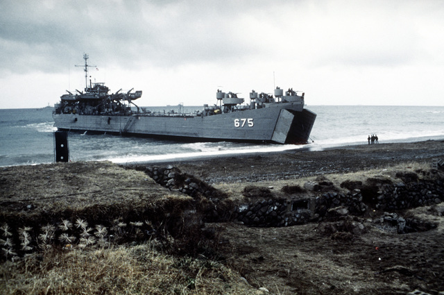 A Korean Navy LST approaches the beach during exercise Team Spirit '82