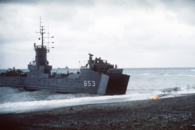 A Korean Navy tank landing ship approaches the beach during exercise Team Spirit '82