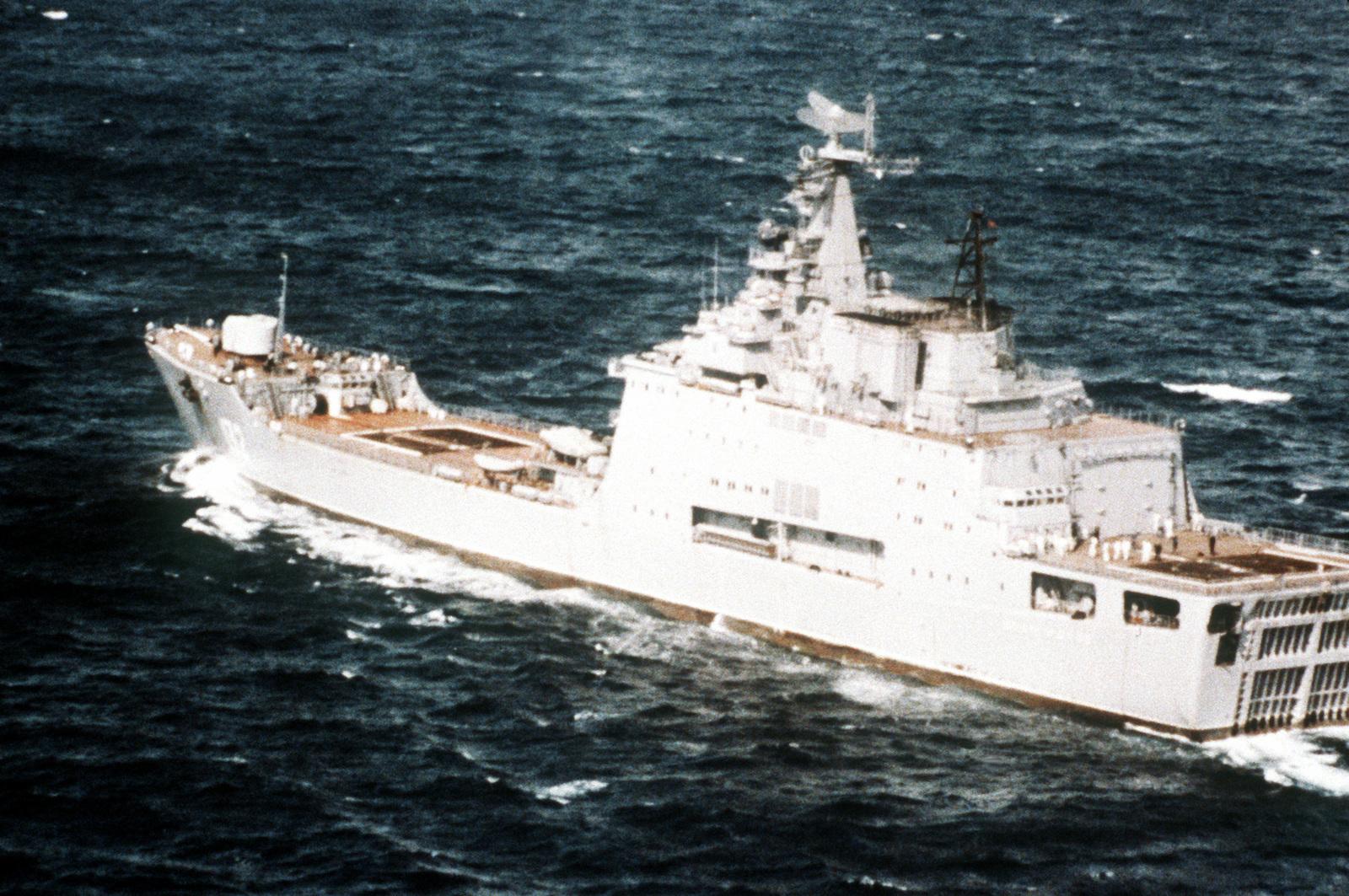 A port quarter view of a Soviet Ivan Rogov class amphibious assault transport dock underway