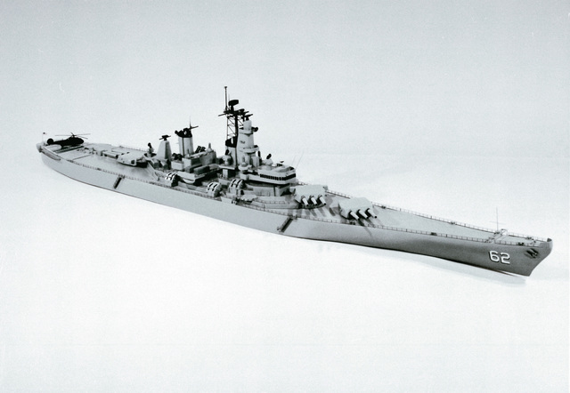 A starboard beam view of a model of the battleship USS New Jersey (BB-62)