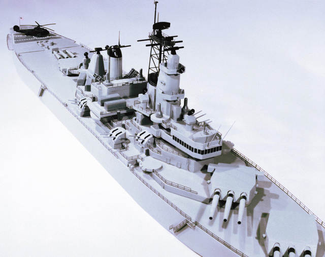 A starboard bow view of a model of the battleship USS New Jersey (BB-62)