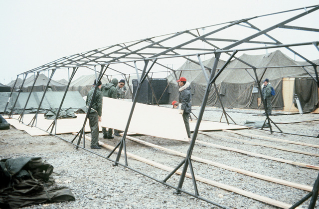 A view of tents being erected for the 656th Tactical Air Command during Exercise Team Spirit '82