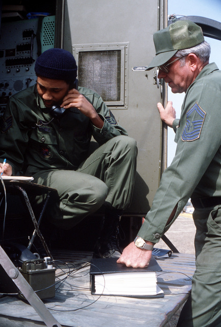 CMSGT Bob Tucker, 223rd Combat Communications Group, assists SSGT Donald Harris in establishing communication ties between Kwang-Ju and Kunsan, Korea, during Exercise Team Spirit '82