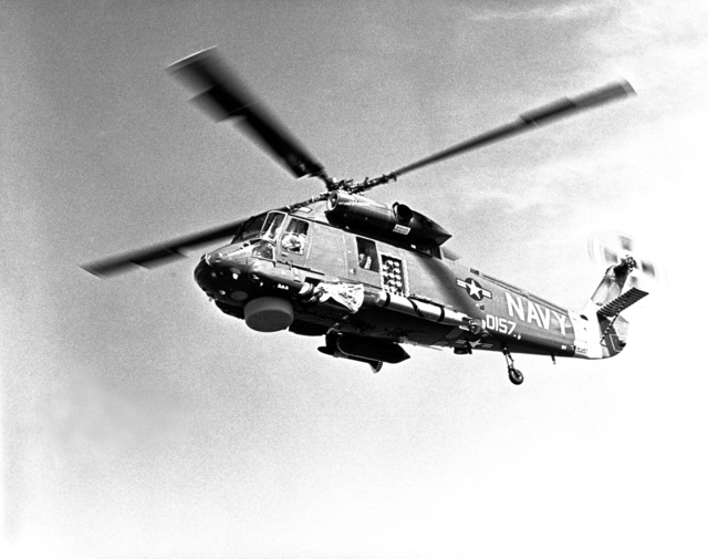 Left side view of an SH-2F Seasprite Mark 1 Light Airborne Multi-Purpose System (LAMPS) helicopter in flight