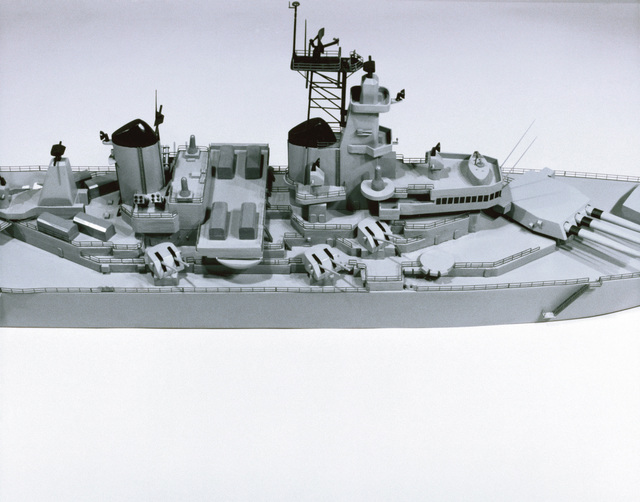 Midship view of a model of the battleship USS New Jersey (BB-62)