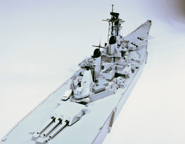 Overhead view of the bow section of a model of the battleship USS New Jersey (BB-62)