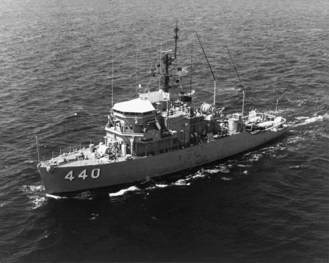 Port bow view of the ocean minesweeper USS EXPLOIT (MSO-440) underway. The Exploit is assigned to the Naval Reserve Force-Atlantic