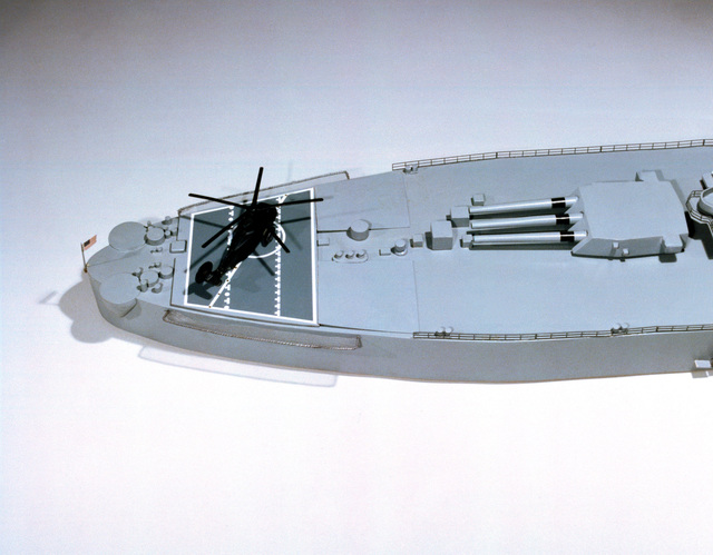 View of the stern section of a model of the battleship USS NEW JERSEY (BB 62)