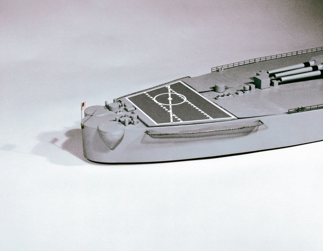 View of the stern section of a model of the battleship USS New Jersey (BB-62)