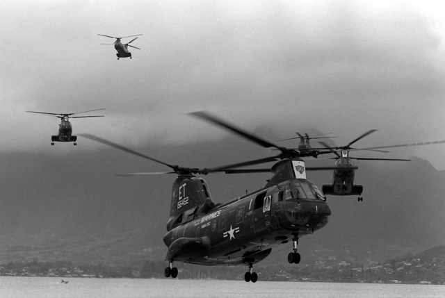 Five CH-46 Sea Knight helicopters from Marine Helicopter Squadron, Medium 262, return home from a Western Pacific deployment
