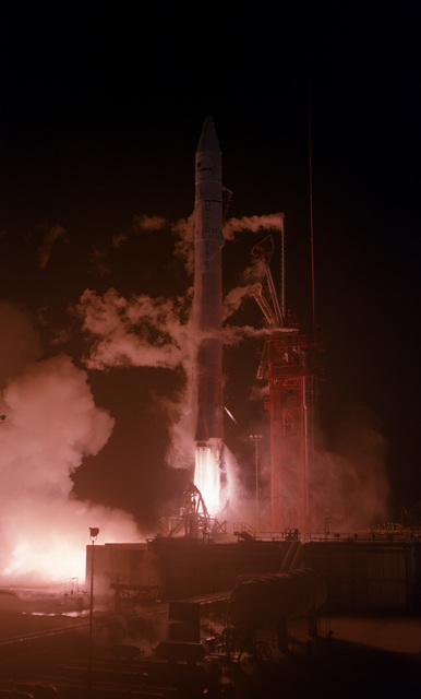 An Intelsat V spacecraft is launched aboard an Atlas Centaur-56 launch vehicle from Complex 36A